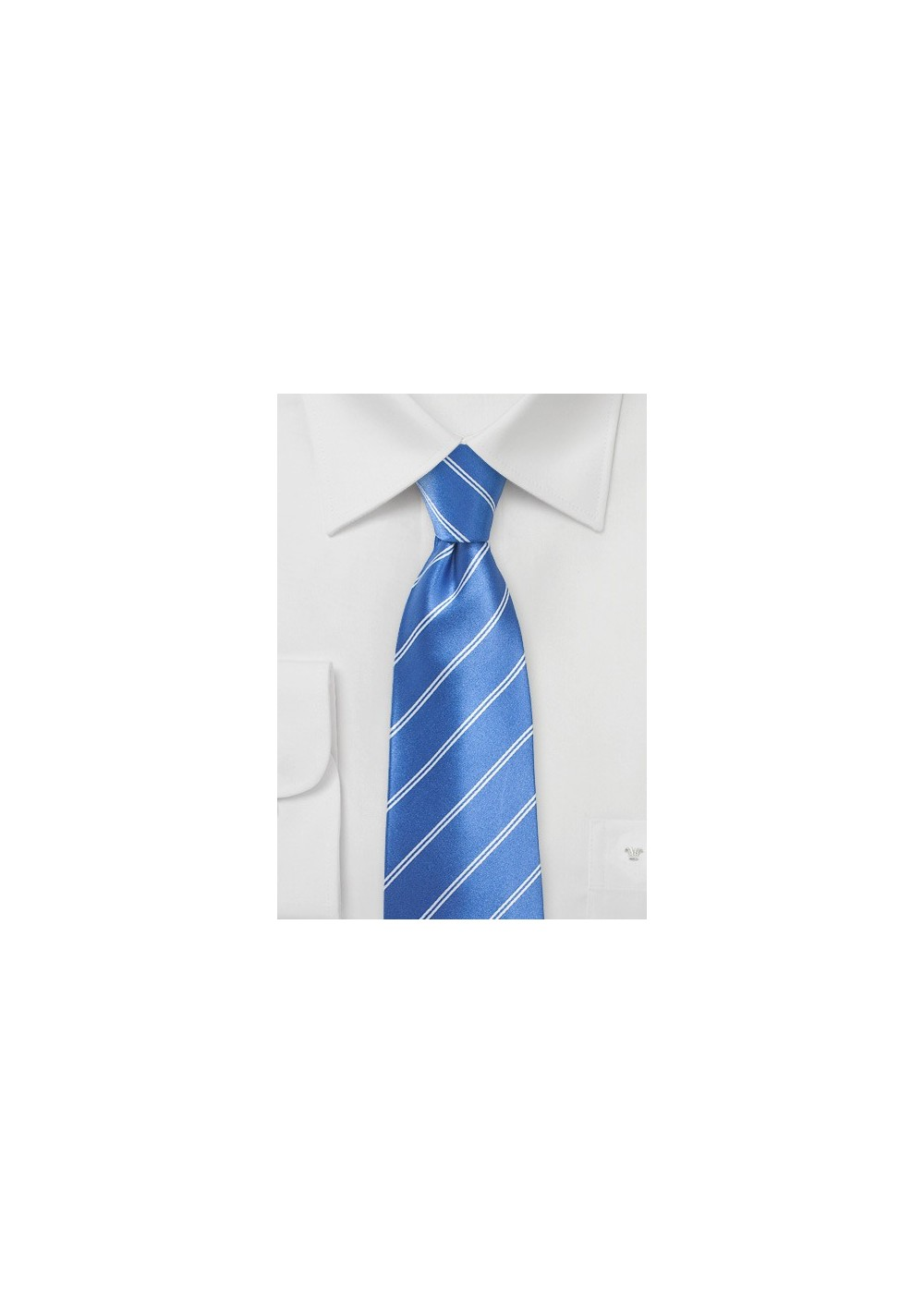 Sky-Blue Necktie with Double Pin Stripe