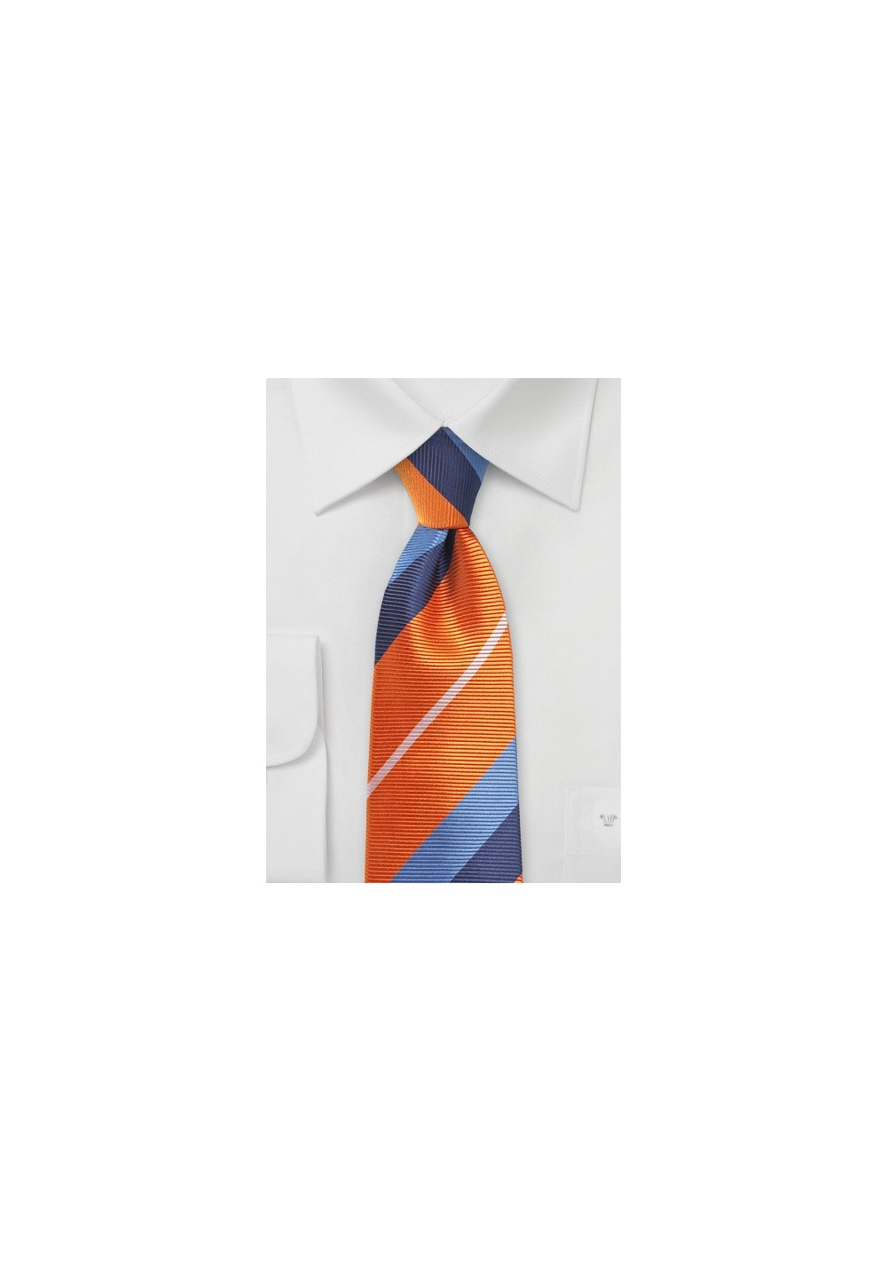 Orange and Blue Necktie with Trendy Stripes