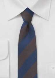 Striped Wool Tie in Espresso and Navy