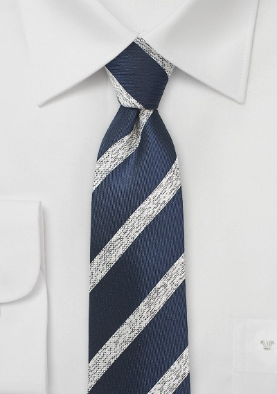 Textured Striped Skinny Tie in Navy