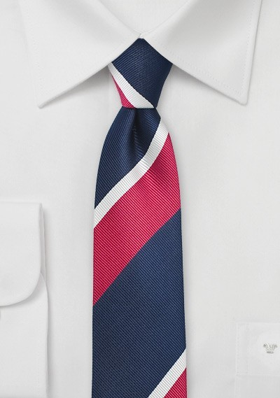 Narrow Striped Tie in Navy and Hot Pink