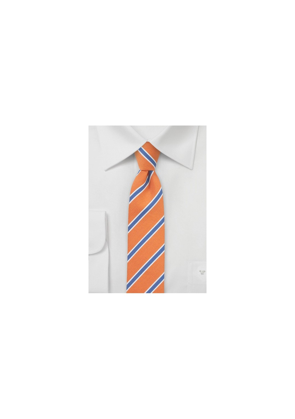Skinny Linen Tie in Tangerine and Blue