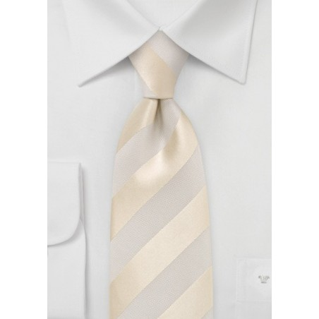 Ivory and Cream Striped Tie in XL Length