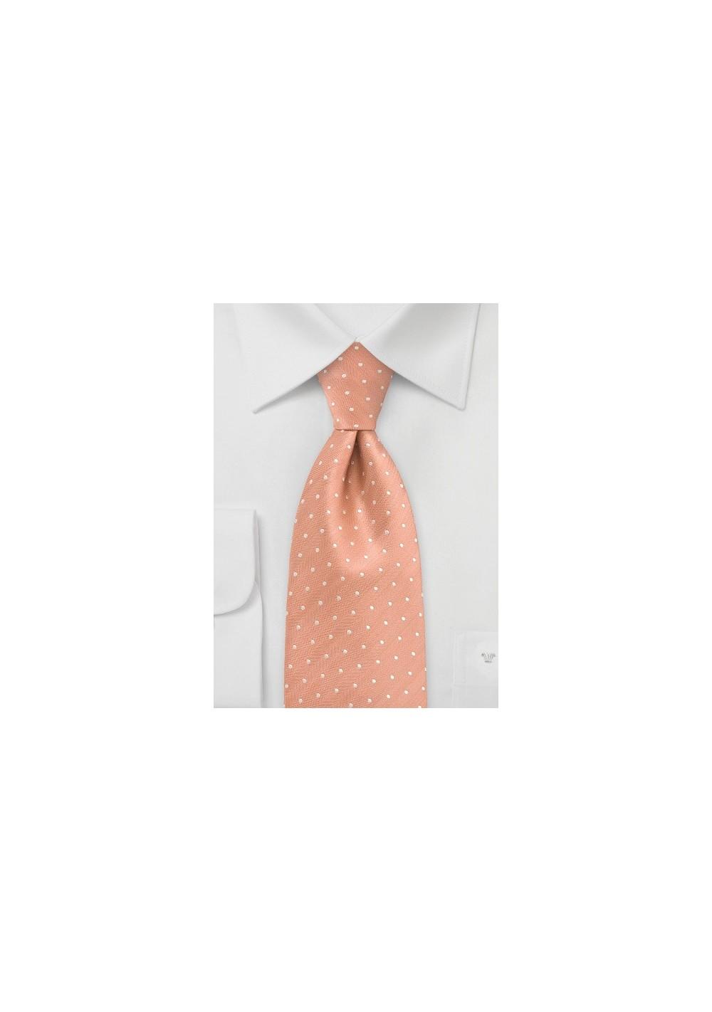 Peach Orange Polka Dot Silk Tie in Kids Size