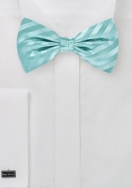 Aqua Blue Bow Tie with Stripes