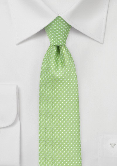 Pin Dot Necktie in Spring Green