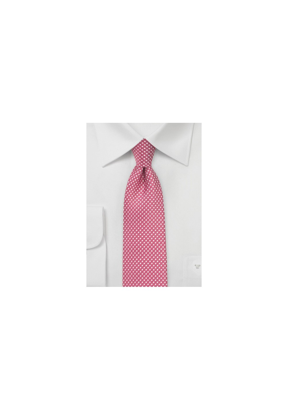 Dark Coral Red Tie with Silver Dots
