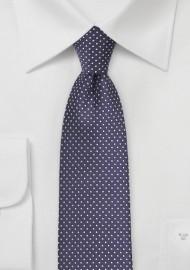 Narrow Pin Dot Tie in Dark Eggplant Purple