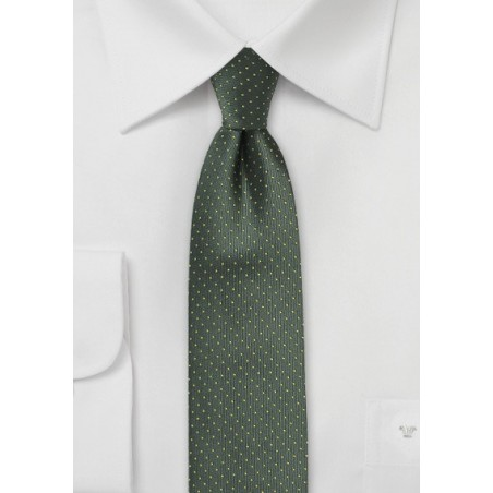 Dark Green Skinny Tie with Bright Yellow Pin Dots