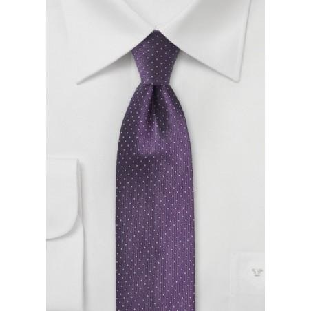 Skinny Pin Dot Tie in Grape Purple