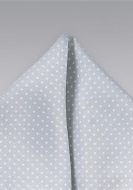 Silver and White Dotted Pocket Square