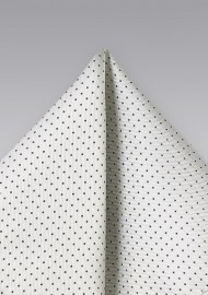 Silver and Black Dotted Pocket Square