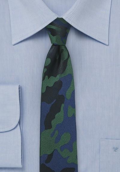 Navy, Black, and Green Camo Necktie in Silk