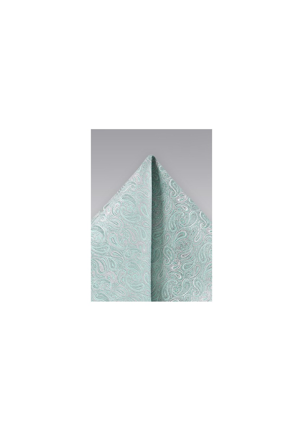 Elegant Paisley Pocket Square in Soft Mint