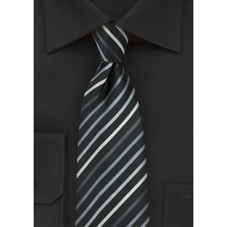 Black XL Length Tie With White, Silver & Gray Stripes