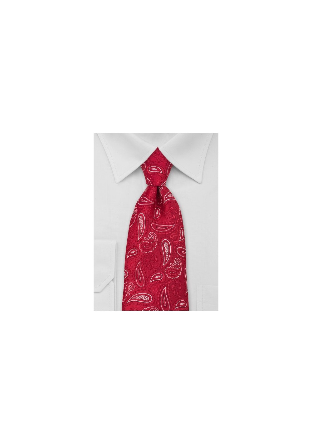 Paisley Kids Size Tie in Red White