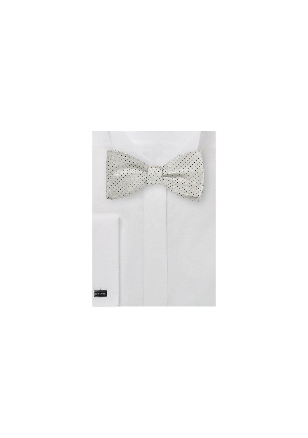 Elegant Silver and Black Pin Dot Bow Tie