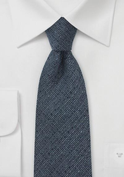 Midnight Blue Wool Necktie with Barleycorn Textured Weave