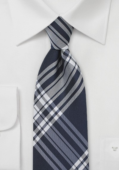 Navy Silk Tie with Large Scale Plaid Design