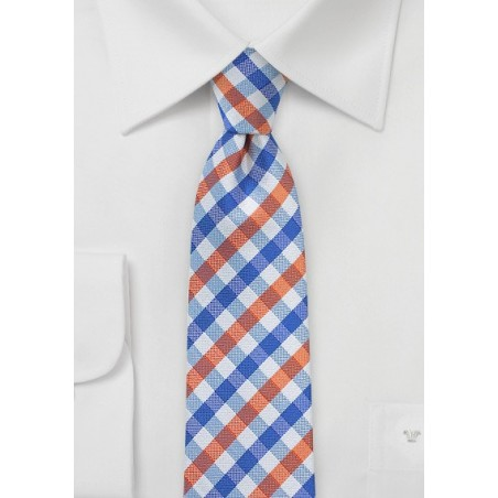 Preppy Gingham Tie in Blue and Orange