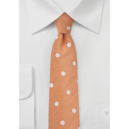 Pastel Orange Tie in Bold Dots