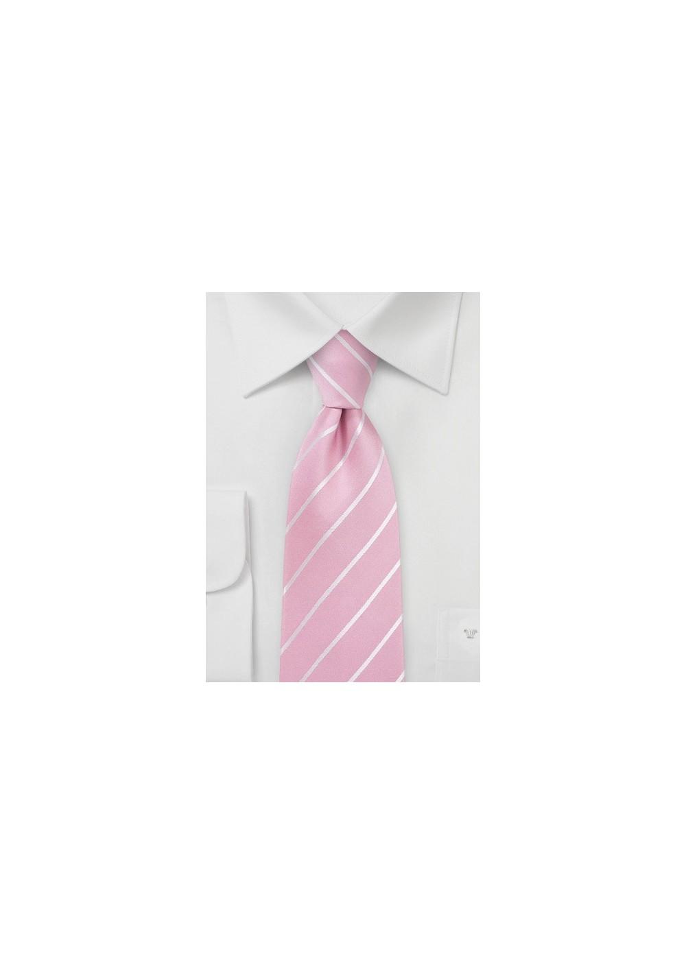 Flamingo Pink Striped Silk Tie