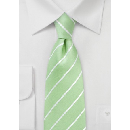 Summer Silk Tie in Pistachio and White