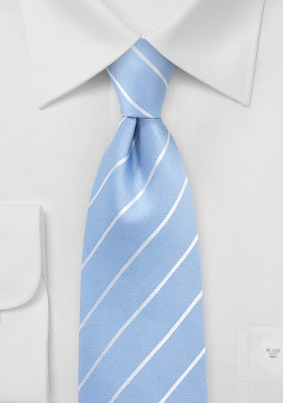 Sky Blue Tie with White Pencil Stripes