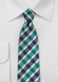 Slim Gingham Tie in Teal and Blue