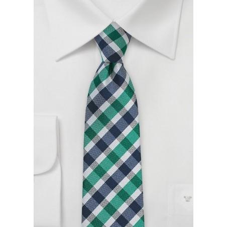 Slim Gingham Tie in Teal and Blue