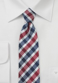 Gingham Tie in Navy and Red