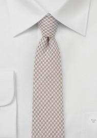 Summer Houndstooth Slim Tie In Tans