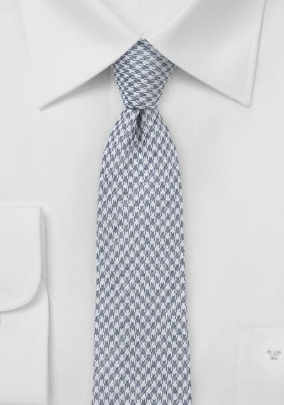 Slim Cut Houndstooth Tie in Grey