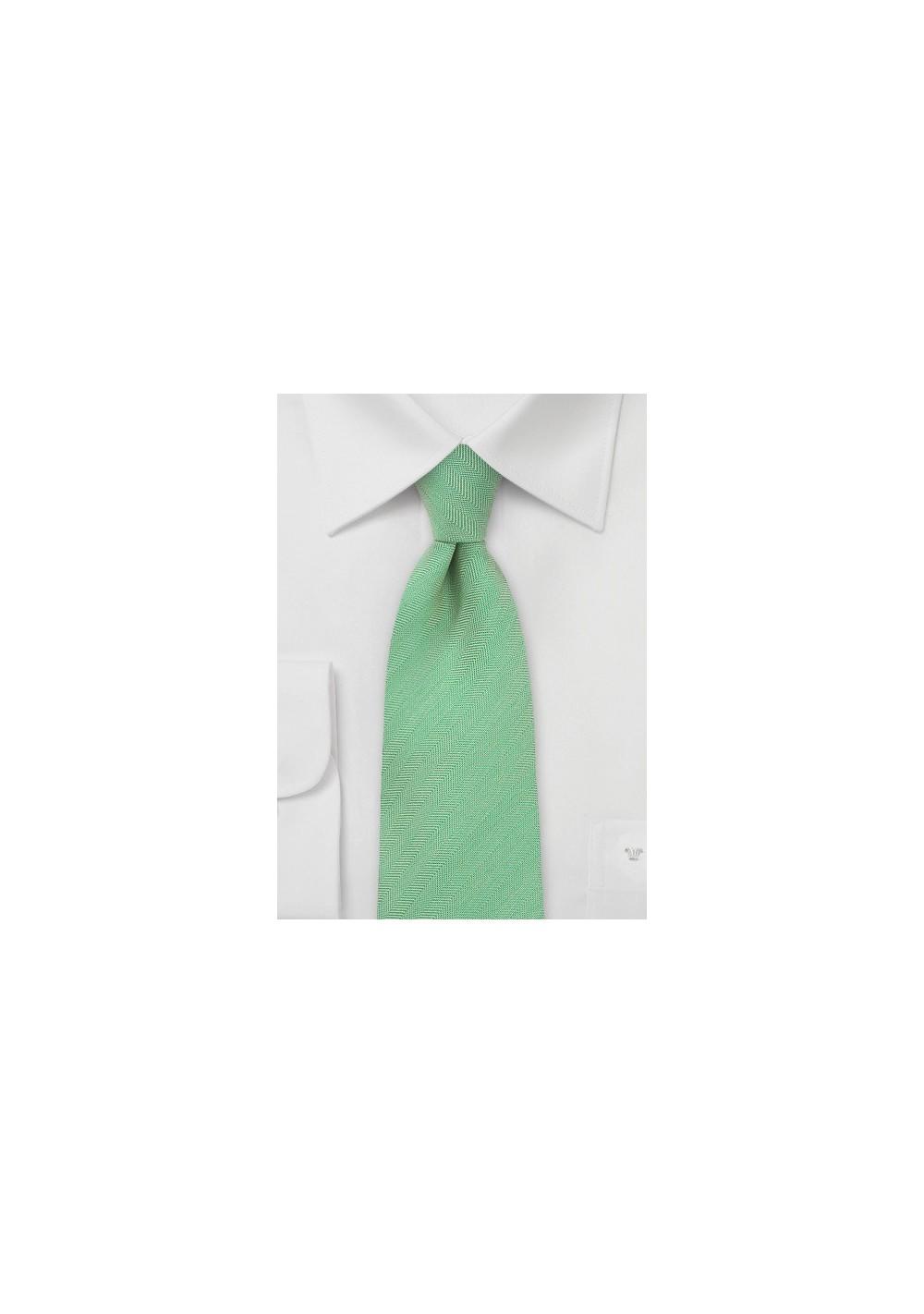 Herringbone Textured Tie in Mint Green