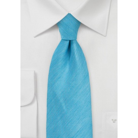 Herringbone Tie in Bright Blue