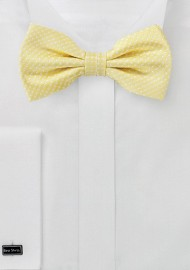 Vanilla Yellow Pin Dot Bow Tie