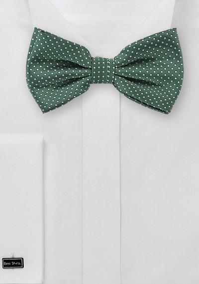 Dark Green Pin Dot Bow Tie