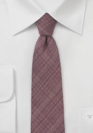 Chambray Skinny Tie in Deep Burgundy