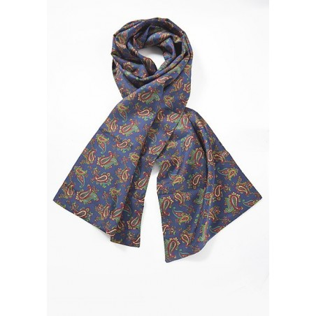 Mens Silk Scarf with Multicolored Paisley Design
