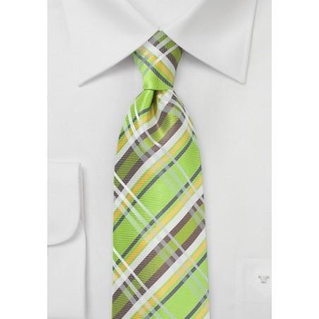 Summer Plaid Silk Tie in Lime Green