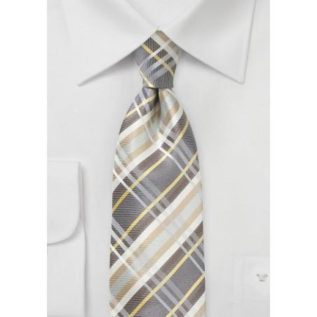 Wheat Colored Silk Plaid Tie