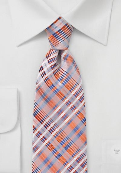 Apricot Orange Summer Plaid Tie