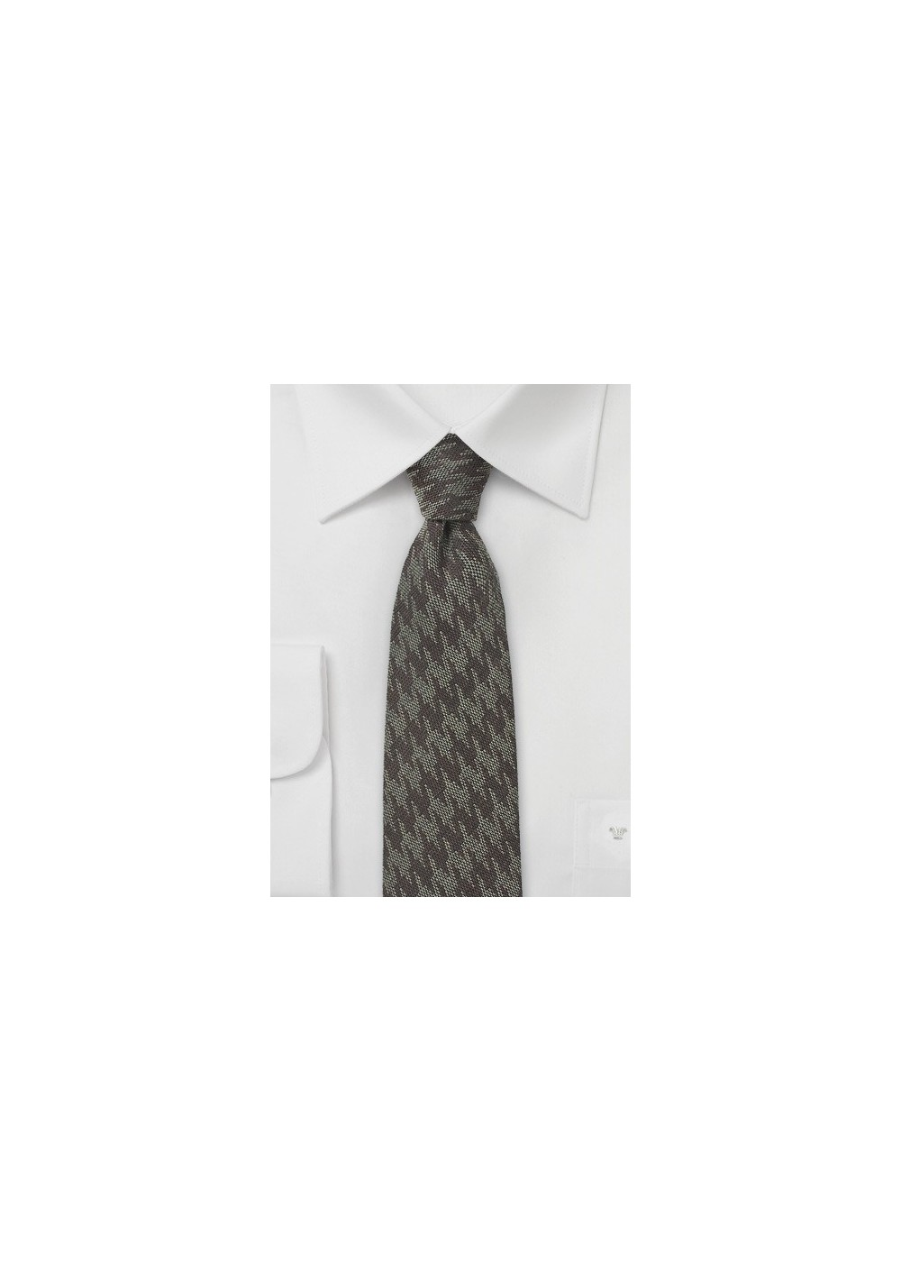 Wool Houndstooth Skinny Tie in Brown Tones