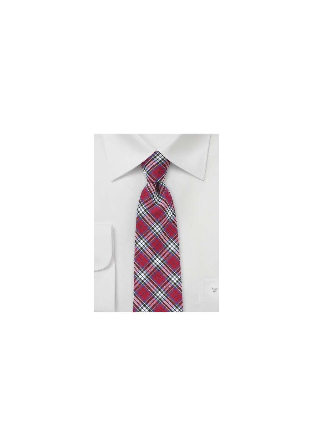 Cotton Plaid Tie in Red, Blue, Yellow, White