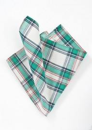 Plaid Cotton Pocket Square in Green and Cream