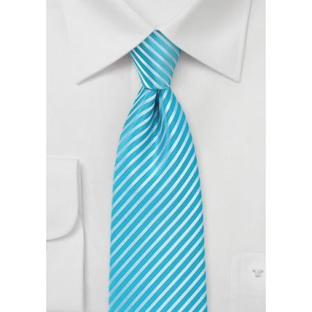 Bright Aqua Striped Tie in XL Length