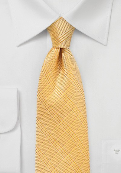 Plaid Summer Tie in Golden Peach Color