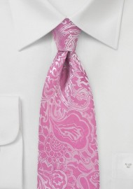 Paisley Summer Tie in Bright Azalea Pink
