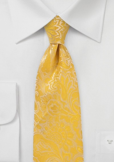 Lemon Yellow Paisley Tie