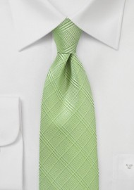 Trendy Plaid Tie in Sap Green